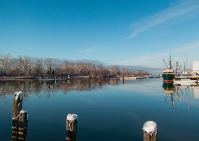Steveston-Channel-Snow-on-Pilings